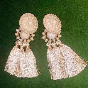 Topshop taupe tassel earrings